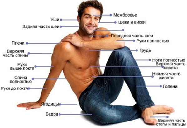 Зоны мужской лазерной эпиляции